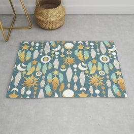 Bohemian spirit // dark turquoise background Rug