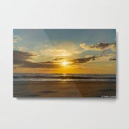 Sunset North Sea Denmark Bjerregard Beach 3 Metal Print