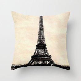 VINTAGE EIFFEL TOWER IN SEPIA Throw Pillow