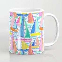 Painterly Sailboat Regatta in White Coffee Mug