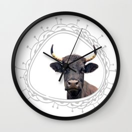 Yellow Horns Wall Clock