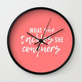 What She Tackles, She Conquers Wall Clock