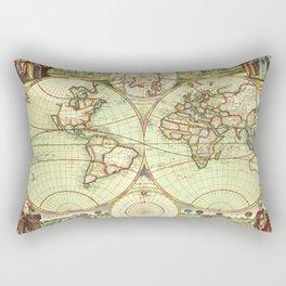 A new mapp of the world (1702) Rectangular Pillow