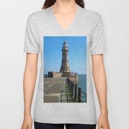 Roker Lighthousem, Sunderland uk Unisex V-Neck