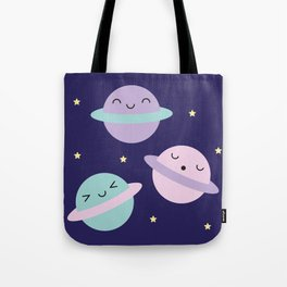 Kawaii Pastel Planets Tote Bag