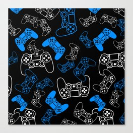 Video Games Blue on Black Canvas Print