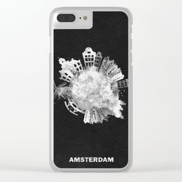 Amsterdam, The Netherlands Black and White Skyround / Skyline Watercolor Painting (Inverted Version) Clear iPhone Case