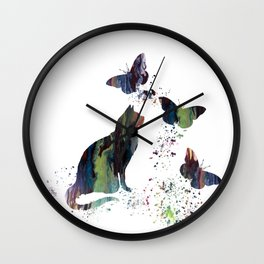 Colorful Cat Art Wall Clock
