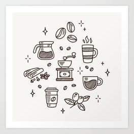 Coffee Doodles Art Print