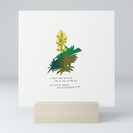 I Thought About You All Day Yellow Flowers Illustration Lyrics Mini Art Print
