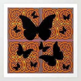 Mystic Black Butterflies Golden Celtic Patterns Art Print