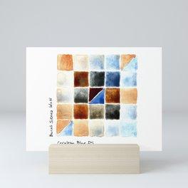 Color Chart - Burnt Sienna (W&N) and Cerulean Blue (DS) Mini Art Print