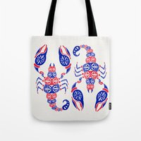 patriotic Tote Bags featuring Patriotic Scorpion by Cat Coquillette