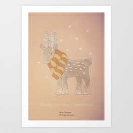 Christmas creatures- The Cozy Deer Art Print