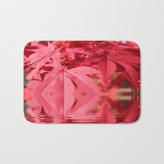 Red Maple Leaves Reflections Bath Mat