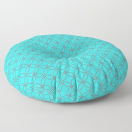 GUISE beautiful peacock blue with silver grey interlocking circles Floor Pillow