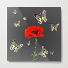 RED POPPY FLOWER & GREY BUTTERFLIES Metal Print