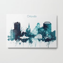 Orlando, Florida Watercolor Metal Print