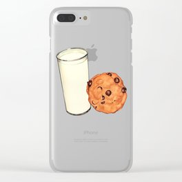 Milk & Cookies Pattern - Red Clear iPhone Case