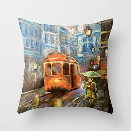 Evening tram Throw Pillow