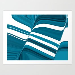Striped of Buttery Blues Art Print