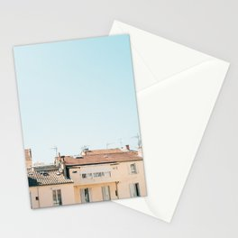 Pretty pretty Cannes | Pastel colored apartment buildings in the South of France Stationery Cards