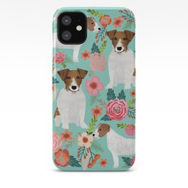 Jack Russell Floral Dog Print - jack russell art, jack russells, jack russell floral iPhone Case