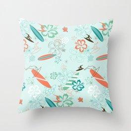 Surfs Up Blue Throw Pillow