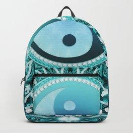 Tranquility Yin Yang Blue Aqua Mandala Backpack