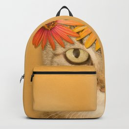Tabby Cat with Daisy Flower Crown, Mustard Yellow Background Backpack