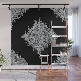 White and Black Floral Lace Wall Mural