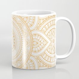 Gold Mandala Pattern Illustration With White Shimmer Coffee Mug