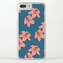 Lily The Tiger - Peach Blue Clear iPhone Case