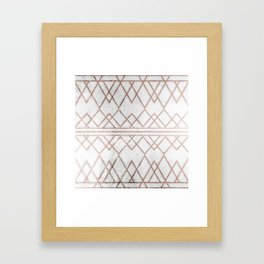 Chic & Elegant Faux Rose Gold Geometric Triangles Framed Art Print