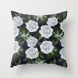 winter rose // repeat pattern Throw Pillow