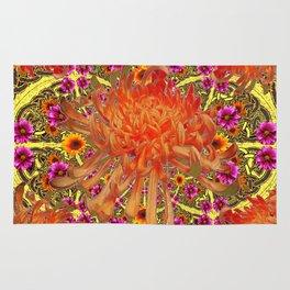 Colorful Decorative Orange Spider Mums Purple Floral Rug