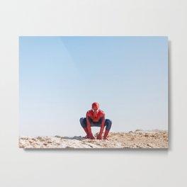 Spider-Man |  Real Superhero On A Rock |  Comic Movie Photography Metal Print