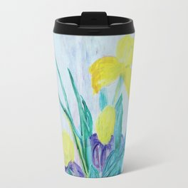 yellow iris on a blue background Travel Mug