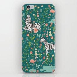Wild Zebras in Green Garden iPhone Skin