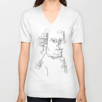mozart V-neck T-shirts featuring Custom made Mozart by bananabread