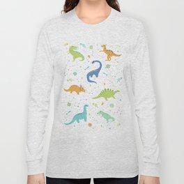 Space Dinosaurs on White (Orange + Blue) Long Sleeve T-shirt