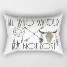All Who Wander Are Not Lost Native American Dreamcatcher Arrows and Skull Rectangular Pillow