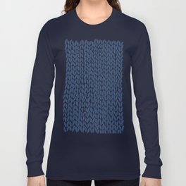 Hand Knit Navy Long Sleeve T-shirt