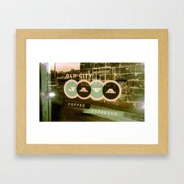 Old City Java Sign in Mint Framed Art Print