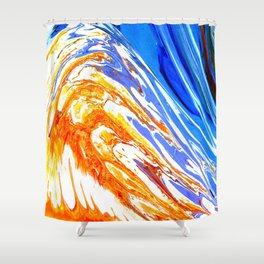 Riding the Wave of Orange Emotion; Fluid Abstract 53 Shower Curtain
