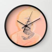 peach Wall Clocks featuring Peach by Denise Medina