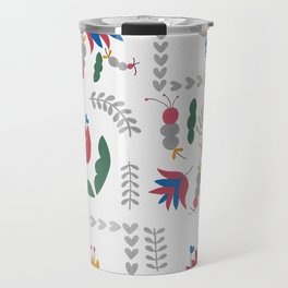 Heart of Silver – Motif – Blue Bell – Scandinavian Folk Art Travel Mug