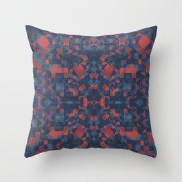 Blue Tile Throw Pillow