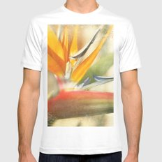 Bird of Paradise - Strelitzea reginae - Tropical Flowers of Hawaii White Mens Fitted Tee MEDIUM