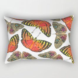 Butterfly Pattern Brown Red Orange Rectangular Pillow